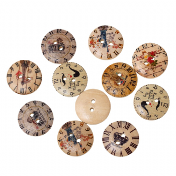 Pack of 10 20mm Wood assorted CLOCK pattern Buttons